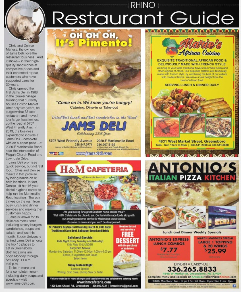 Jams Deli Recognized in the Rhino Times